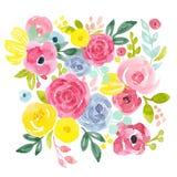Composition florale abstraite en aquarelle illustration libre de droits