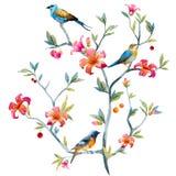 Composition florale avec des oiseaux Photo stock