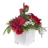 Composition florale avec les pivoines et les roses rouges Photos libres de droits