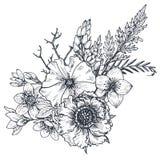 Composition florale Bouquet avec les fleurs et les plantes tirées par la main illustration stock