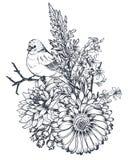 Composition florale Bouquet avec les fleurs tirées par la main, usines, oiseaux illustration libre de droits