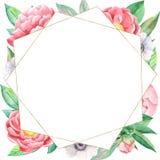 Composition florale en aquarelle avec les pivoines et le cadre d'or géométrique illustration de vecteur
