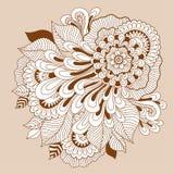 Composition florale en bel art de griffonnage Calibre de fleur de tatouage de henné Dessin floral de griffonnage Ornement floral  illustration de vecteur