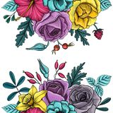 Composition florale en vecteur de vintage illustration de vecteur