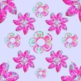 Composition florale en vecteur, modèle sans couture, fuchsia, aigue-marine, turquoise, fond lilas simple illustration libre de droits