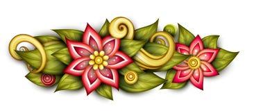 Composition florale monochrome en vecteur dans la forme ovale illustration stock