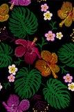 Composition florale tropicale en broderie Jungle exotique d'été de fleur d'usine Correction de textile d'impression de mode Plume Image libre de droits