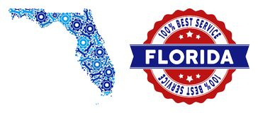 Composition Florida Map of Repair Tools stock illustration