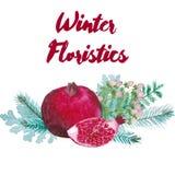 Composition floristique en aquarelle d'hiver Photos stock