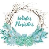 Composition floristique en aquarelle de vecteur Photos libres de droits