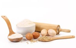 Composition of flour and eggs. Stock Photo