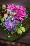 Composition of flowers as wedding decor element Royalty Free Stock Images