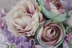 Composition with flowers from fabric. Delicate flower compositions from flowers from a fabric Stock Photo