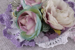 Composition with flowers from fabric. Delicate flower compositions from flowers from a fabric Stock Photos