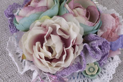 Composition with flowers from fabric. Delicate flower compositions from flowers from a fabric Stock Photography