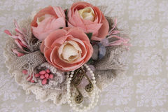 Composition with flowers from fabric. Delicate flower compositions from flowers from a fabric Royalty Free Stock Photos