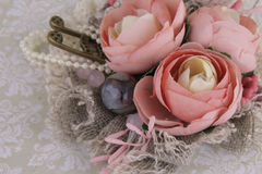 Composition with flowers from fabric. Delicate flower compositions from flowers from a fabric Royalty Free Stock Images