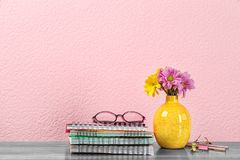 Composition with flowers for Teacher`s day. On table stock photos