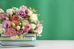 Composition with flowers for Teacher`s day on white