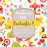 Composition for flyer with amusement park fun icons. Vector flat style composition for flyer with amusement park fun icons Royalty Free Stock Image