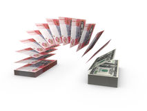 Composition with flying banknotes of ukrainian money Royalty Free Stock Photo
