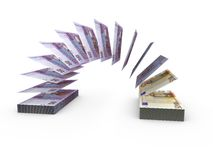 Composition with flying banknotes of ukrainian money Stock Photos