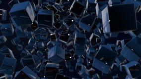 Composition foncée avec des cubes avec beaucoup de points culminants et de foyer mobile Les graphiques 3d de mouvement ont fait u illustration de vecteur