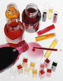 Composition of food coloring liquids Royalty Free Stock Images