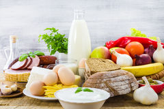 Composition food products table Royalty Free Stock Photo