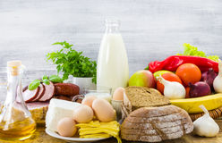 Composition food products table Stock Photography