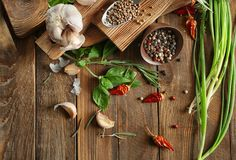 Composition with foodstuff on table. Composition with foodstuff on wooden table Stock Images