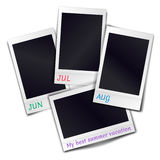 Composition of four blank vintage photo frames on white fone. Composition of four blank vintage photo frames on white background. Template for design summer Royalty Free Stock Images