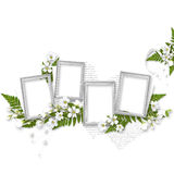 Composition from four frames with white flowers Stock Photo