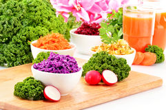 Composition with four vegetable salad bowls Stock Images