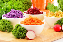 Composition with four vegetable salad bowls Royalty Free Stock Photography