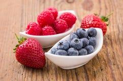 Fresh blueberries raspberries and strawberries. Composition of fresh blueberries, raspberries and strawberries Stock Image