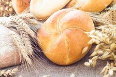 Composition fresh bread crispy rolls Stock Photography