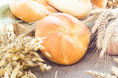 Composition fresh bread crispy rolls Stock Photos