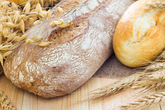 Composition fresh bread crispy rolls Royalty Free Stock Image