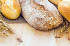 Composition fresh bread crispy rolls Stock Image