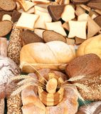 Composition of fresh bread grain and wheat. Royalty Free Stock Image