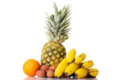 Composition of fresh exotic fruits. Stock Photo