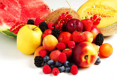 Composition of fresh fruit. On a white background Royalty Free Stock Image
