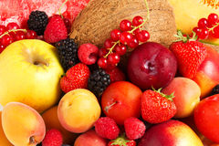 Composition of fresh fruit. On a white background Stock Photo