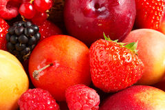Composition of fresh fruit. With strawberries Stock Photos