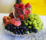 Composition of the fresh fruit and berries royalty free stock photo