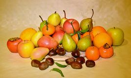 Autumn fruit, still life. Composition with fresh fruit of various kind, closeup Stock Images