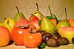 Autumn fruit, still life. Composition with fresh fruit of various kind, closeup Royalty Free Stock Photo