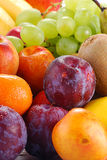 Composition with fresh fruits. Composition with fresh wet fruits with visible drops of water Royalty Free Stock Photos