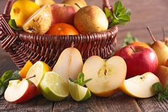 Composition with fresh fruits Stock Photos